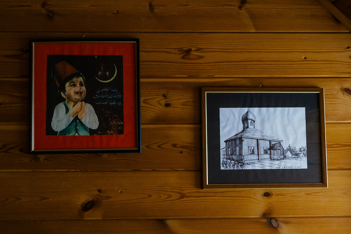 Two frames with the waning crescent and the mosque of the village, in Bohoniki, Poland