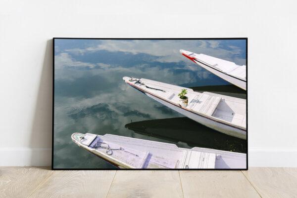 Boats in Dal Lake print, Srinagar