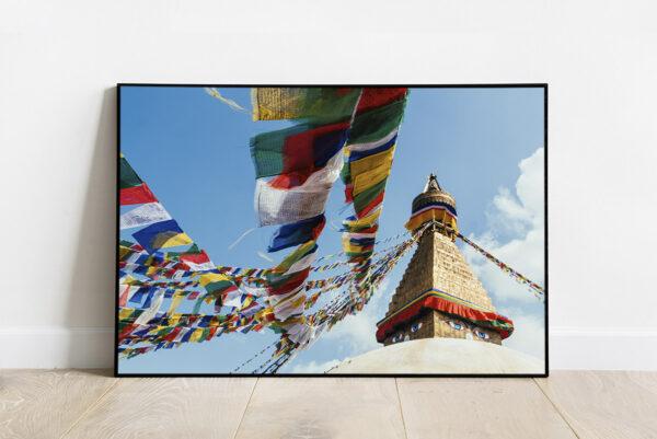 Print of Boudhanath pagoda with praying flags, near Kathmandu