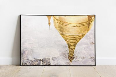 Reflection of a golden pagoda in Myanmar print