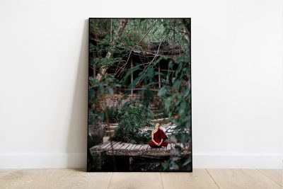 Print of a Buddhist monk meditating in Wat Palat, Chiang Mai