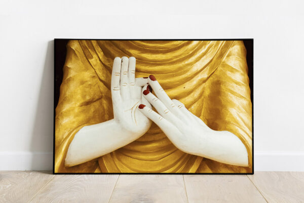 Print of a symbolic gesture or Mudra of a statue of Buddha