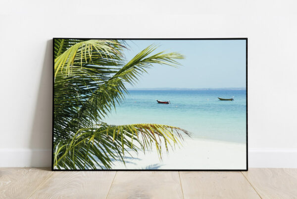 Print of a tropical beach with turquoise water and white sand