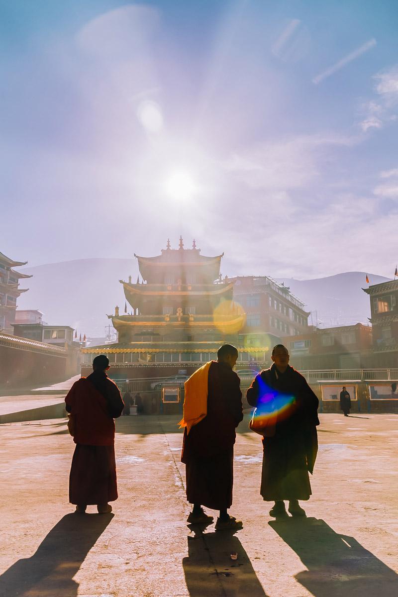 Tibetan Buddhist Monks in Larung Gar
