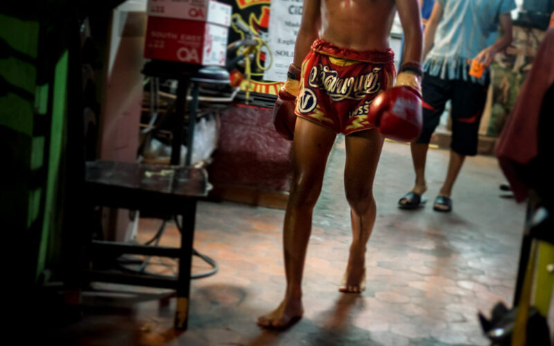 Young fighter heading to the Muay Thai ring, in Chiang Mai, Thailand