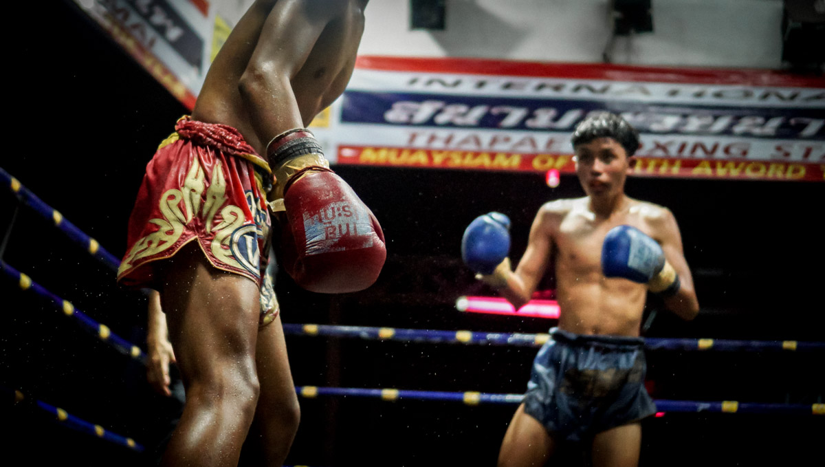 Young fighters in action, in Chiang Mai, Thailand