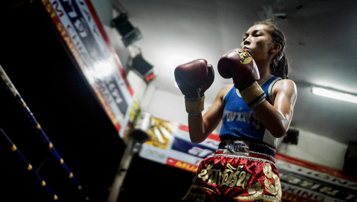 Young female fighter waiting for the counterattack, in Chiang Mai, Thailand