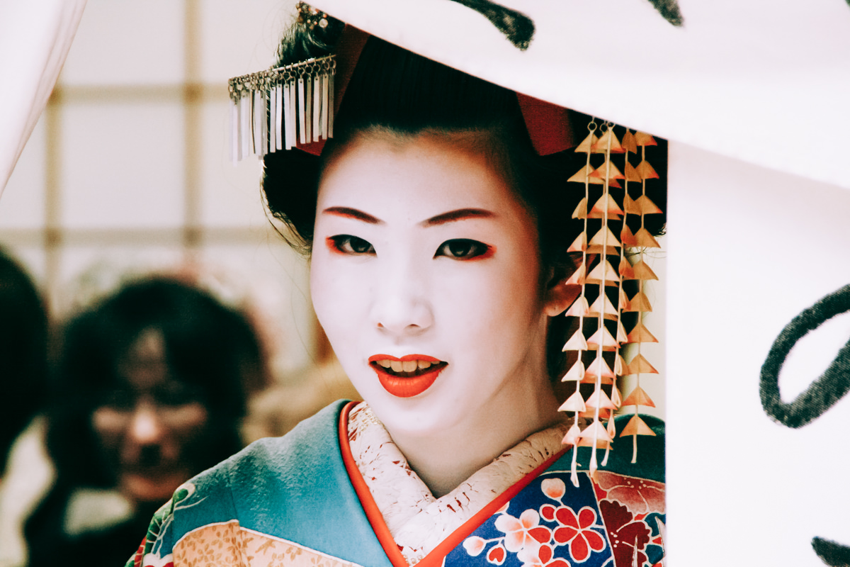 Girl dressed up with traditional kimono clothes, in Kyoto