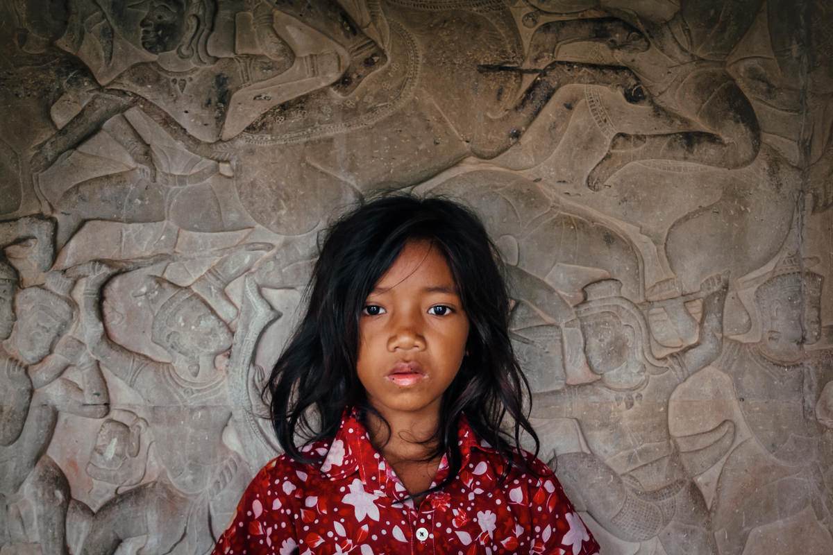 Portrait of a Cambodian girl, in Angkor Wat