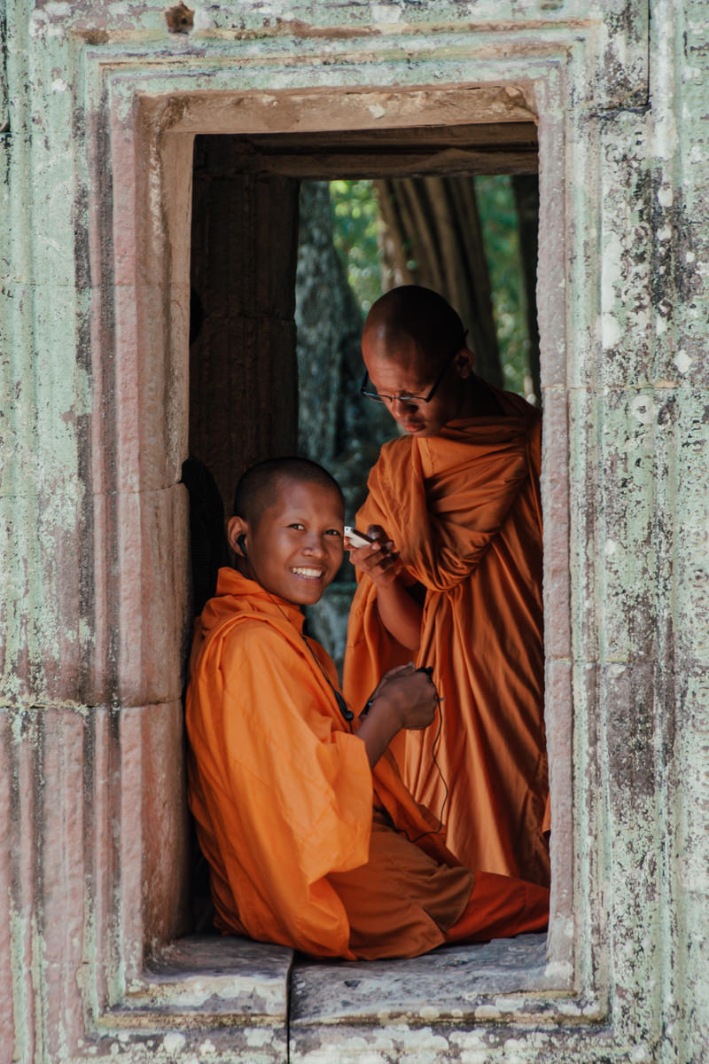 Portrait of Buddhist monks in Angkor Wat, Cambodia