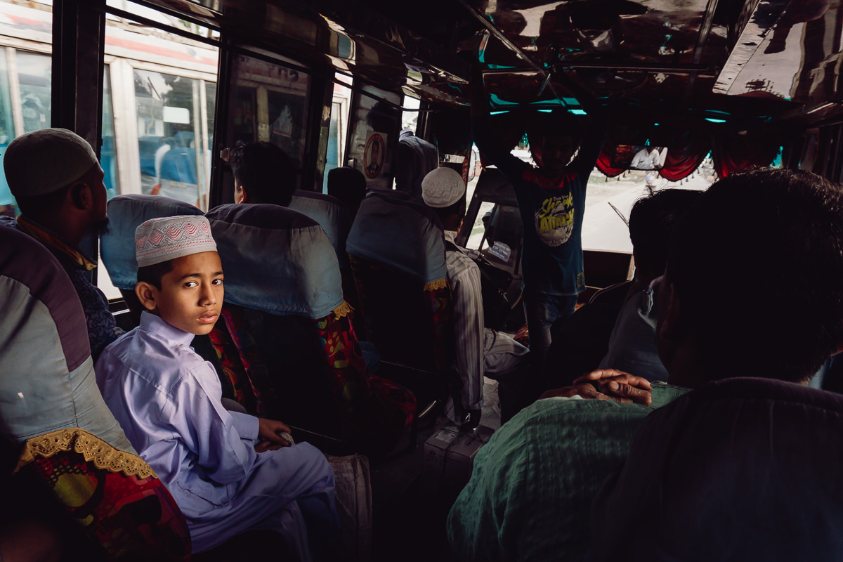 Portrait of a boy in a bus after crossing the border , in Bangladesh