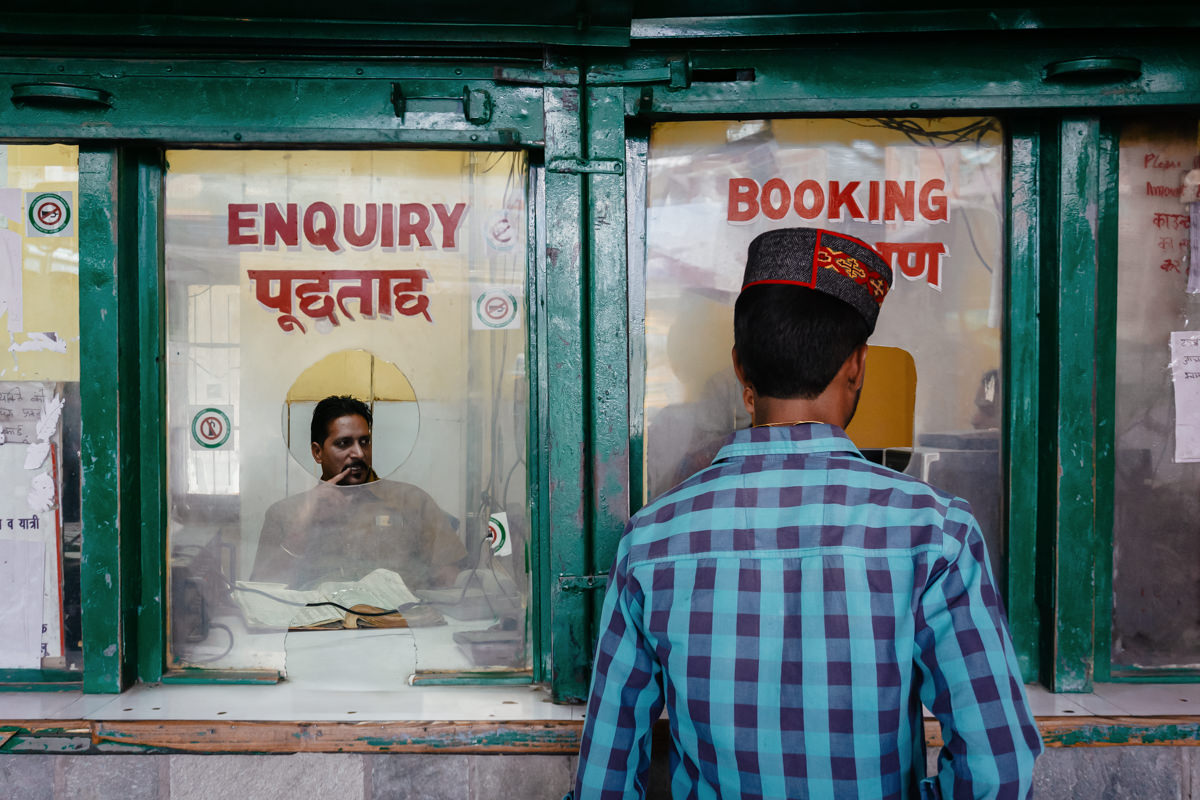 Bus ticket office in Manali, India