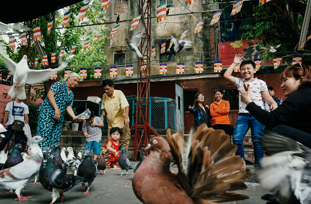 People and pigeons in Jade Temple, Ho Chi Minh, Vietnam