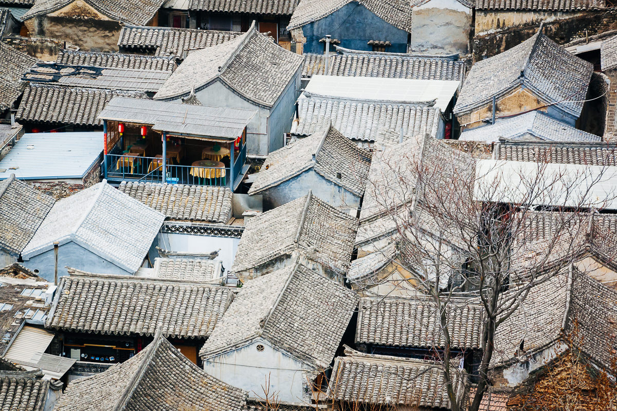 Aerial view of roofs of Cuandixia, China