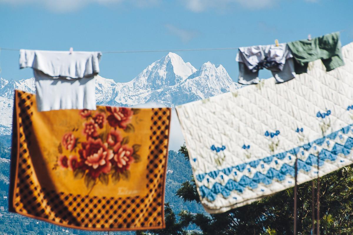 Himalaian peaks from Bhaktapur, Nepal