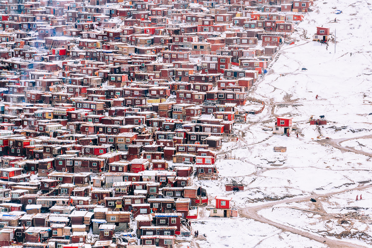 Snowed landscape of Larung Gar, Sêrtar (China)