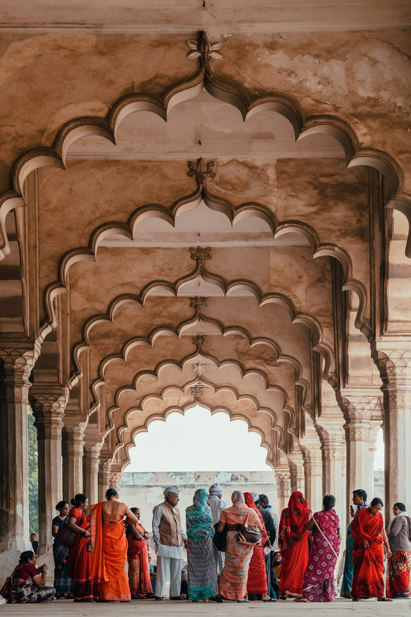 Red Fort arches, in Delhi, India