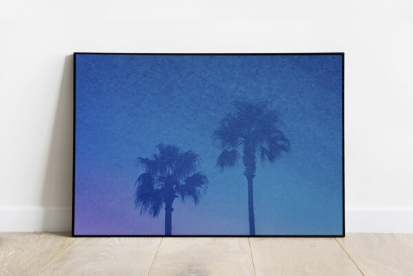 Print of a reflection of palm trees in a pool