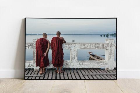 Print of two burmese monks in Ube bridge Myanmar